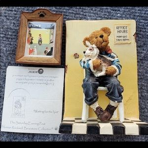 BOYDS BEARSTONE SATURDAY EVENING POST FIGURINE AND FRAME